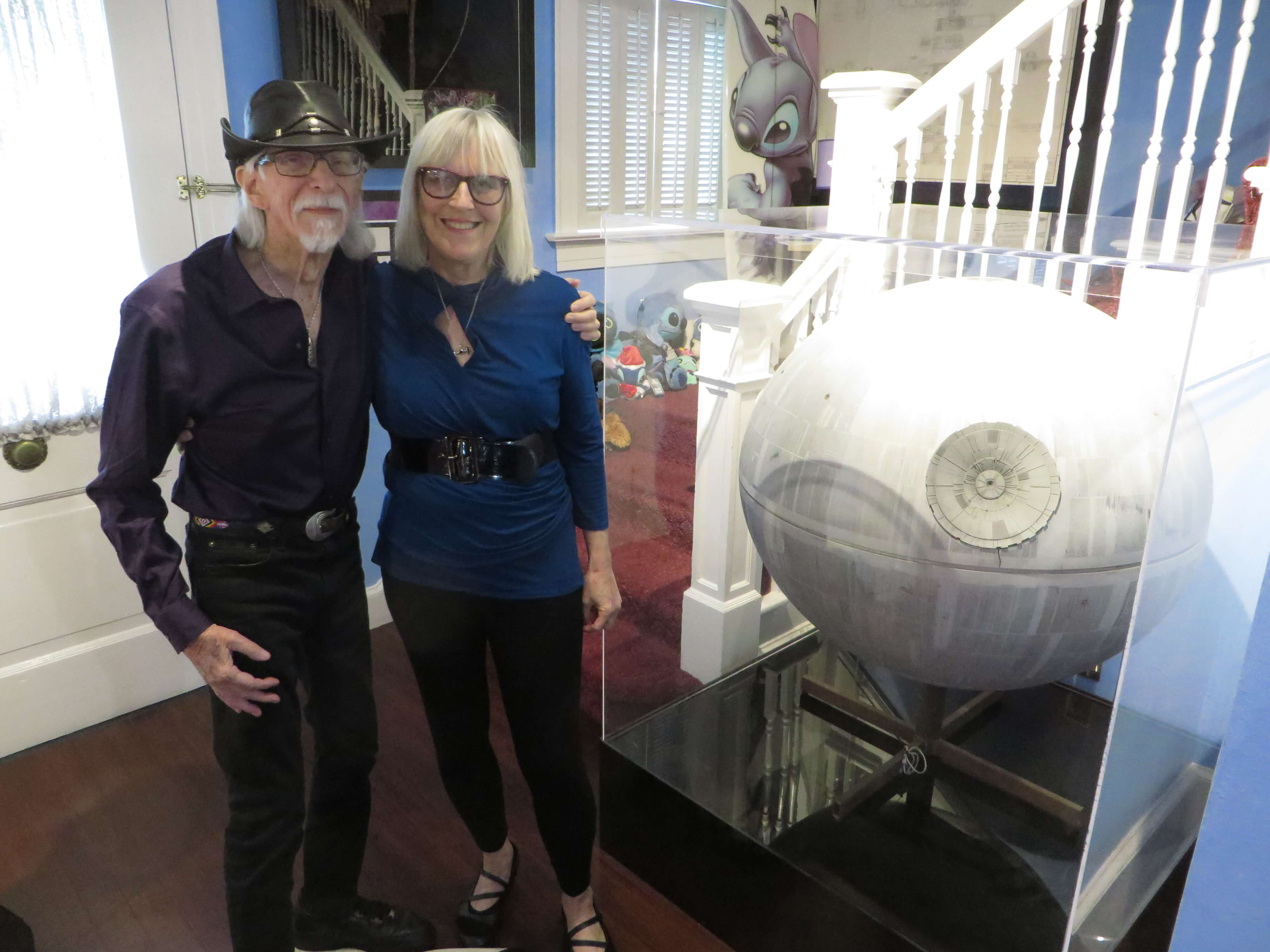 Colin and his partner Sierra next to one of the original Death Stars